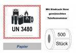 """Label UN 3480 """"Lithium-Ionen-Batterien"""" 2017"""