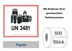 "Label UN 3481 ""Lithium-Ionen-Batterien"" 105mm"