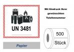 """Label UN 3481 """"Lithium-Ionen-Batterien"""" 2017"""