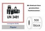 """Label UN 3481 """"Lithium-Ionen-Batterien"""" klein"""