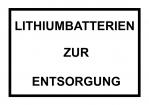 """Label SV 377 """"Lithiumbatterien zur Entsorgung"""""""