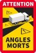 """Kennzeichnung """"Toter Winkel/Angles Morts"""" für LKW / PE-Selbstklebefolie"""