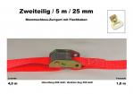 Klemmschloss-Zurrgurt 2-25mm / 5,0 m Flachhaken (1,0/4,0)