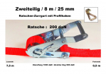 Ratschen-Zurrgurt 2- 25mm / 8m Profilhaken (0,5/7,5) / 200 daN