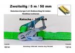 Ratschen-Zurrgurt 50mm / 5m (1,0/4,0) / 210 daN