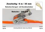 Ratschen-Zurrgurt 2- 35mm / 6m Karabinerhaken (1,0/5,0) / 240 daN