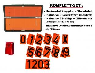 SET : Ziffern-Warntafel, horizontal klappbar mit Ziffernsatz
