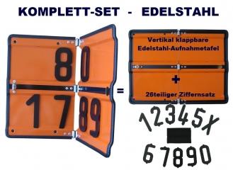 SET : Ziffern-Klapp-Warntafel Edelstahl, vertikal klappbar