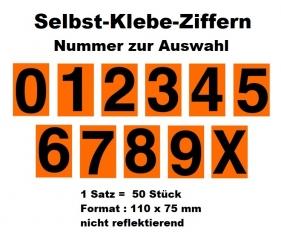 50 Stück Nummernziffern für Ziffern-Warntafel