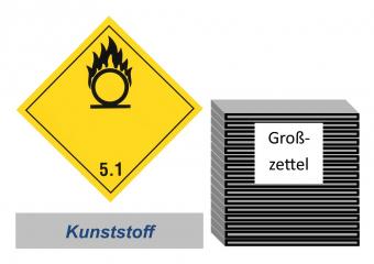 Grosszettel 250x250 Kunststoff - Gefahrgutklasse 5.1