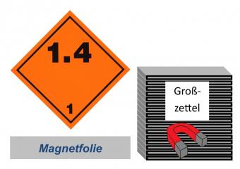 Grosszettel 250x250 magnetisch - Gefahrgutklasse 1.4
