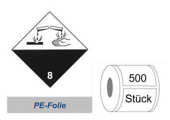 Gefahrzettel 100x100 PE-Folie - Gefahrgutklasse 8