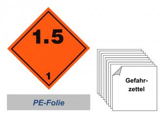 Gefahrzettel 100x100 PE-Folie - Gefahrgutklasse 1.5