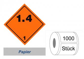 Gefahrzettel 100x100 Papier - Gefahrgutklasse 1.4