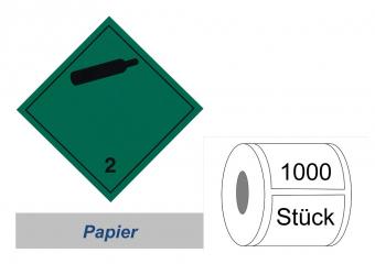 Gefahrzettel 100x100 Papier - Gefahrgutklasse 2.2