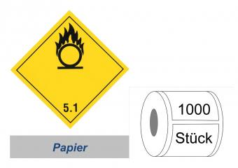 Gefahrzettel 100x100 Papier - Gefahrgutklasse 5.1