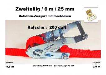 Ratschen-Zurrgurt 2- 25mm / 6m Flachhaken (0,5/5,5) / 200 daN