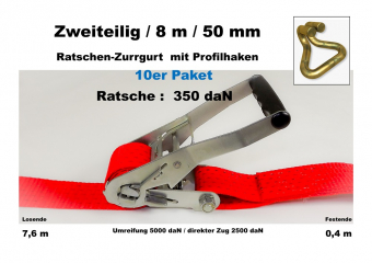 10er Paket : Zurrgurt 50mm / 8m Profilhaken (0,4/7,6) / 350 daN